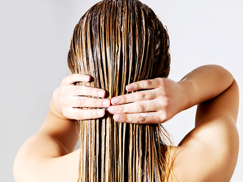 woman with wet blond hair