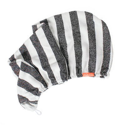 Rapid Dry Lisse Hair Turban B+W Striped | AQUIS