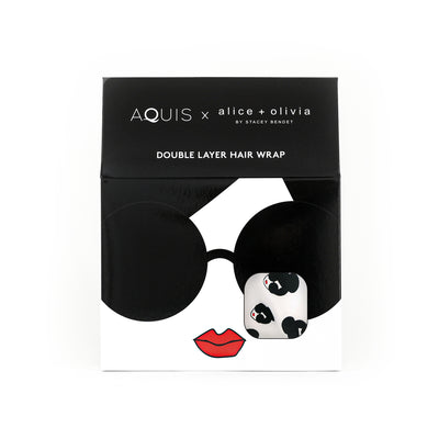 PACKAGING FOR AQUIS AND ALICE + OLIVIA DOUBLE LAYER TURBAN WITH STACE FACE PRINT