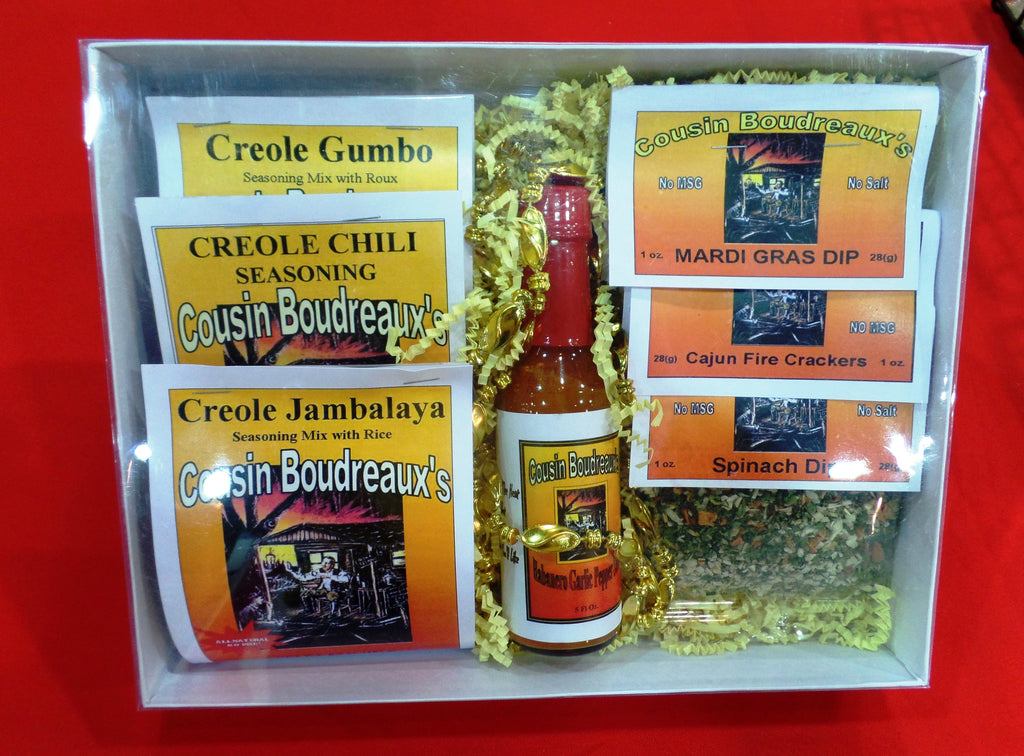 Clear top Gift Box - 3 Food and 3 Dip mixes and a bottle of pepper sauce - Cousin Boudreaux's