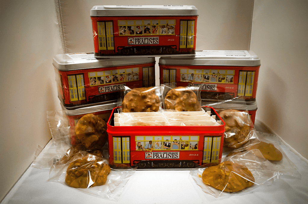 Cousin Boudreaux's Creole Pralines in collectible tin gift box. Seasonal Item - SPECIAL ORDER SHIPPED FROM CANDY MAKER..