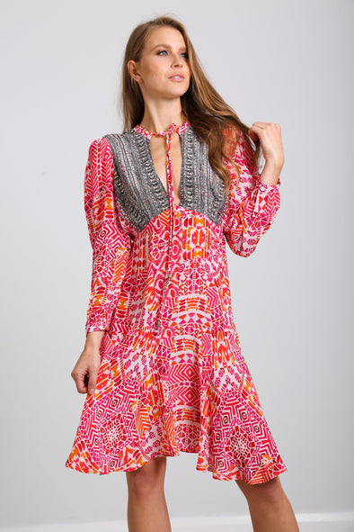 SHIRAZ -  Boho Mini Dress With Bell Sleeve