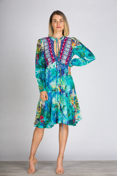 AMAZONIA -  Boho Mini Dress With Bell Sleeve