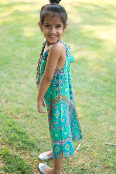 EMERALD FOREST - LITTLE GIRLS MAXI DRESS