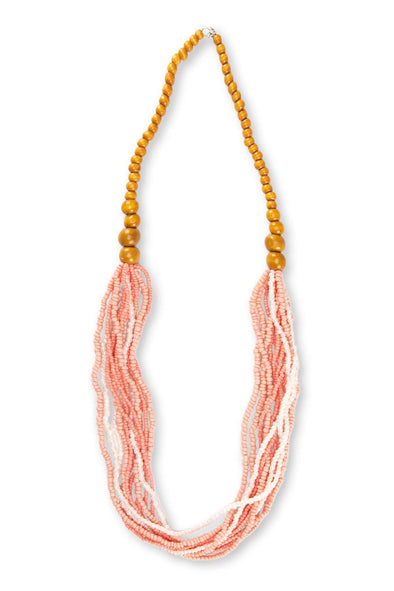 JEWELLERY - PINK CREME' BEADED NECKLACE
