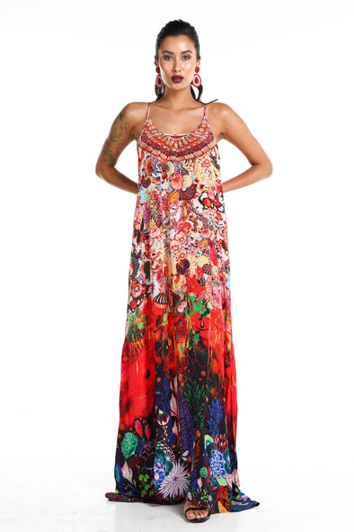 CORRALLE - MAXI DRESS WITH ADJUSTABLE STRAPS