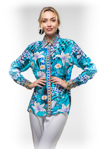 AQUA LUNA - SHIRT WITH COLLAR