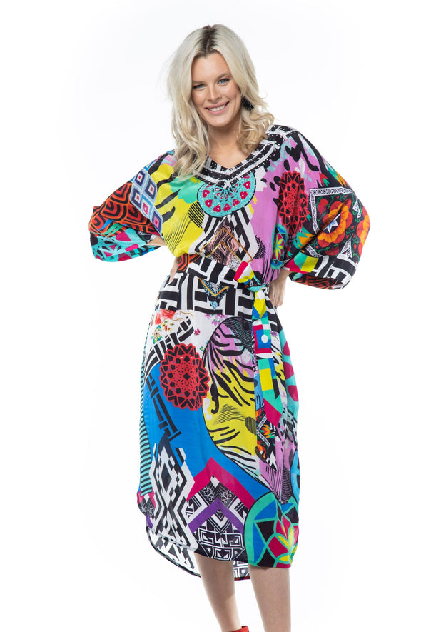 NEO ZULU - MIDI DRESS WITH SHORT SLEEVES