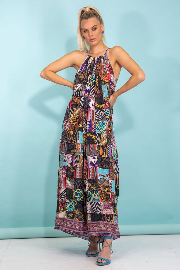 PATCHWORK - MAXI DRESS WITH DRAWSTRING STRAPS