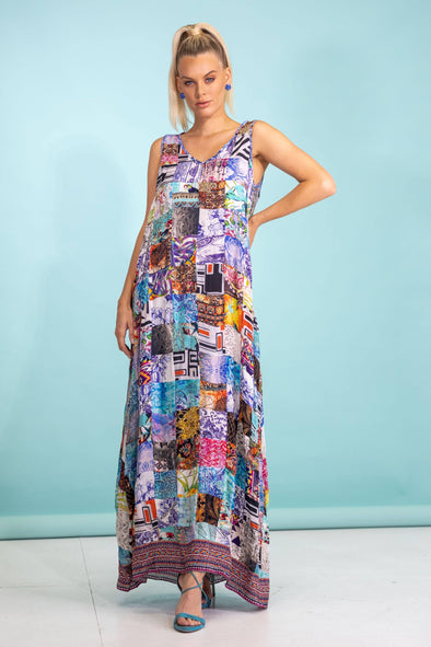 PATCHWORK - SLEEVELESS MAXI DRESS