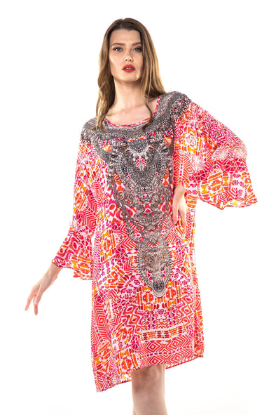 SHIRAZ - SHORT KAFTAN WITH FRILL SLEEVES