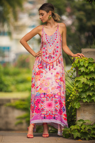 CHERRY BLOSSOM - MAXI DRESS WITH ADJUSTABLE STRAPS