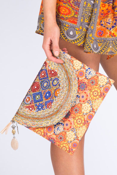HANDBAGS - SAN ANDREAS COLLECTION, CANVASS CLUTCH WITH CRYSTALS