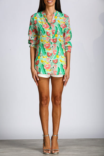 SUMMER FLAMINGO - MILANO SHIRT, WITHOUT COLLAR