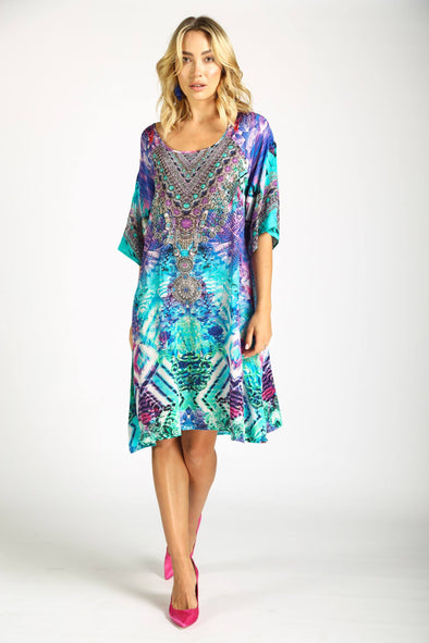 INDIGO SUMMER - SLIT SLEEVE DRESS
