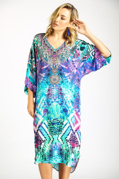 INDIGO SUMMER - MIDI DRESS WITH SHORT SLEEVE
