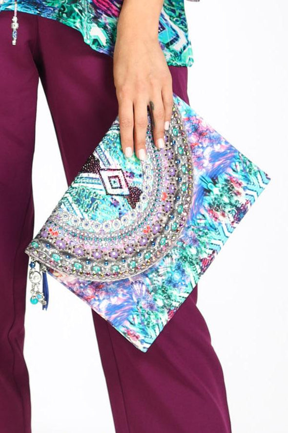 HANDBAGS - INDIGO SUMMER CLUTCH WITH CRYSTALS