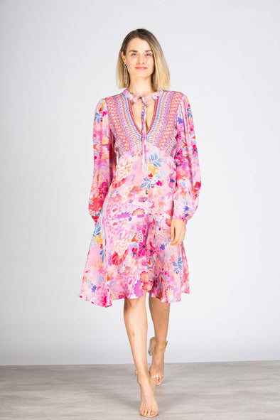 CHERRY BLOSSOM - Boho Mini Dress With Bell Sleeve