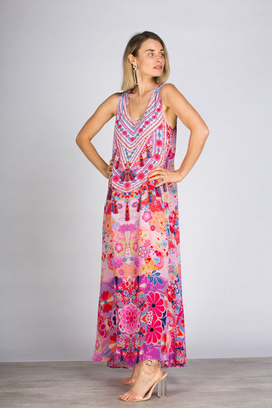 CHERRY BLOSSOM - SLEEVELESS MAXI DRESS