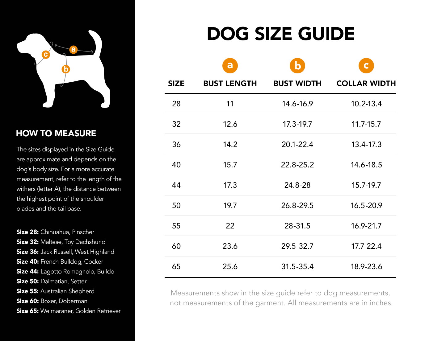 Pet sizing Guide