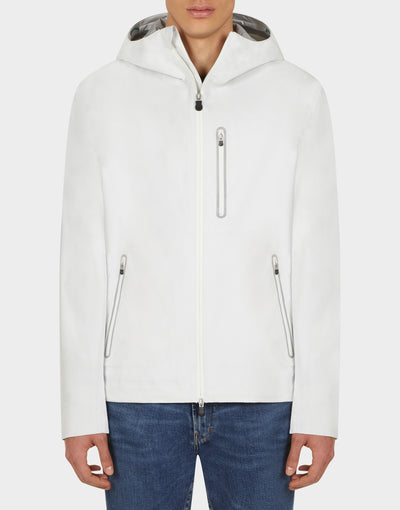 Mens GRIN Hooded Jacket in White