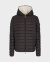 Mens Faux Sheepskin Hooded Jacket in Brown Black
