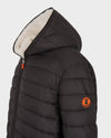 Men's Faux Sheepskin Hooded Jacket in Brown Black