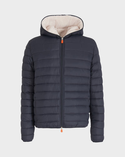 Men's Faux Sheepskin Hooded Jacket in Grey Black