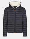 Men's Hooded Puffer Jacket with Faux Sherpa Lining in GIGA
