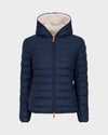Women's GIGA Faux Sheepskin Hooded Jacket in Navy Blue