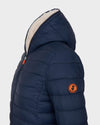 Womens Sherpa Faux Sheepskin Hooded Jacket in Navy Blue