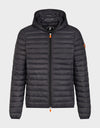 Mens GIGA Puffer Hooded Jacket in Black