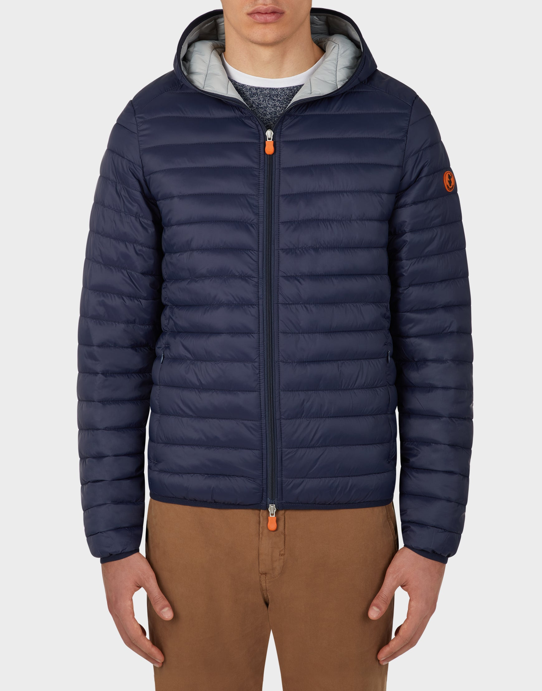 Mens GIGA Puffer Hooded Jacket in Navy Blue