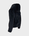 Womens Reversible FURY Faux Fur in Blue Black