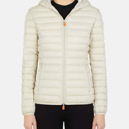 DAISY: Womens Hooded Jacket in GIGA in Cool Beige