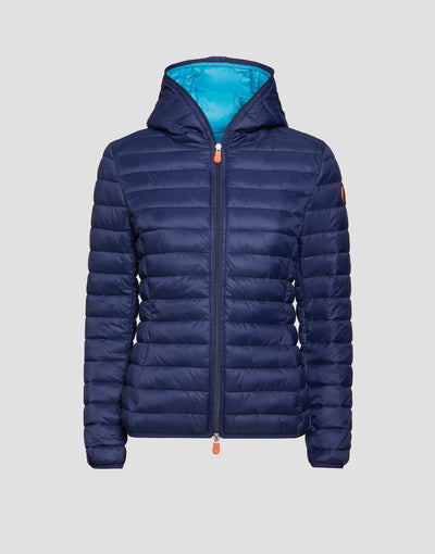 Women's GIGA Hooded Puffer Jacket in Navy Blue
