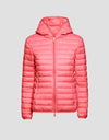 Women's GIGA Hooded Puffer Jacket in Coral Pink