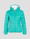 Womens GIGA Hooded Puffer Jacket in Tropical Green