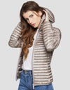 Womens IRIS Hooded Puffer Jacket in Pearl Grey