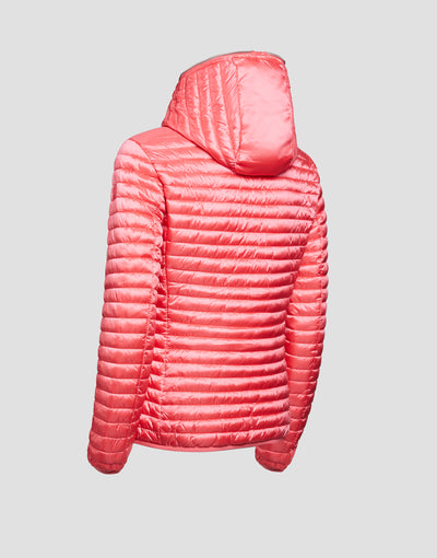 Women's IRIS Hooded Puffer Jacket in Coral Pink