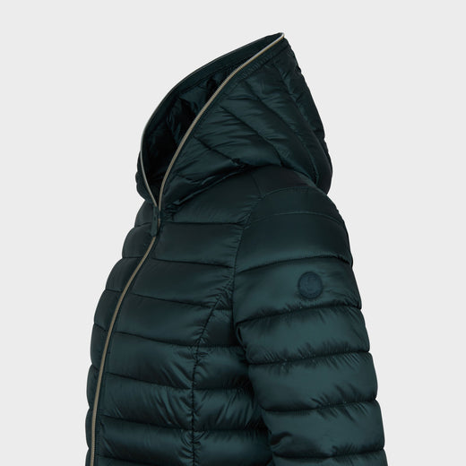 Womens IRIS Hooded Jacket in Green Black