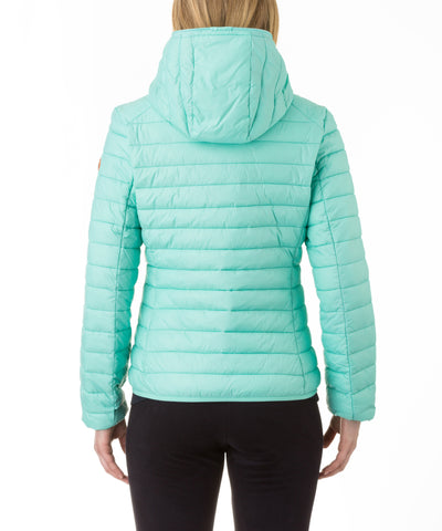 Women Hooded Jacket in Aqua Green