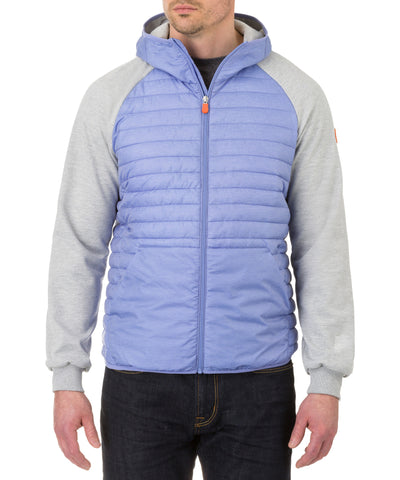 Men's Hooded Jacket in Light Blue Melange