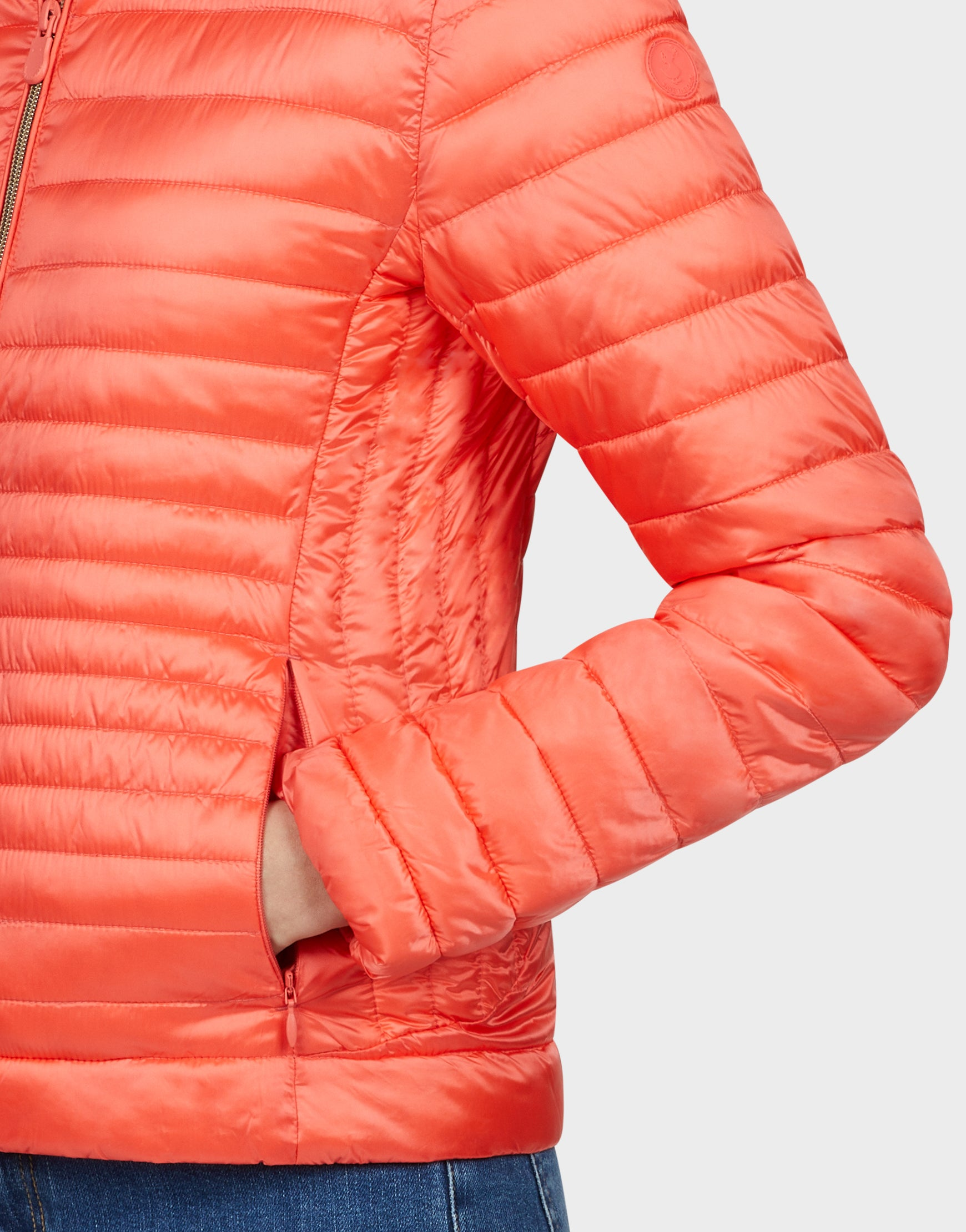 Womens IRIS Jacket in Coral Orange