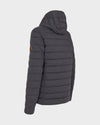 Mens ANGY Quilted Hooded Jacket in Charcoal Grey Melange