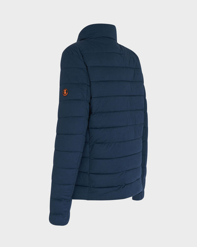 Mens ANGY Quilted Short Jacket in Navy Blue Melange