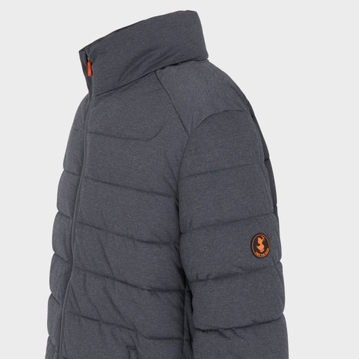 Mens ANGY Quilted Short Jacket in Grey Black