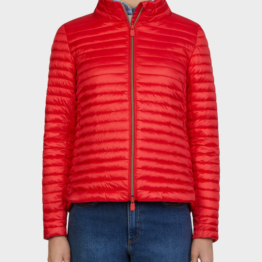 Womens IRIS Sporty Puffer Jacket in Hibiscus Red