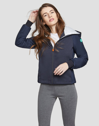Save The Duck Womens Hooded Jacket-S3725W-FEEL6-146 Blue Black