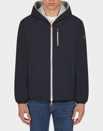 Mens MATY Hooded Jacket in Blue Black